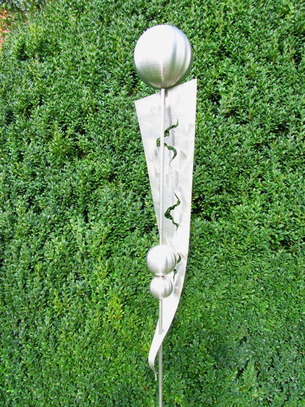 Gartendeko deko gartenstecker stecker rost edelrost edelstahlkugel beetstecker zaunspitze - Gartendeko edelstahl ...
